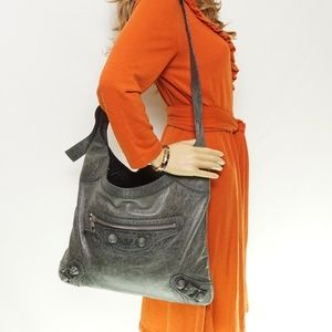 Auth Balenciaga Green Leather Bag #1043G16